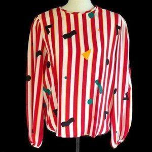 Vintage 80's Silk Top Red White Stripe Multi Print